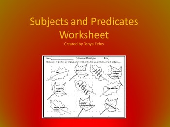 Subjects and Predicates Fall Worksheet