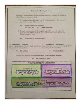 Subjects and Predicates Foldable Unit with Tests