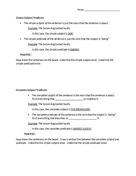 Subjects and Predicates Guided Notes