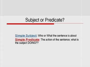 Subjects and Predicates-Interactive, Weather Themed Power Point