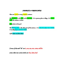 Subjects and Predicates Notes