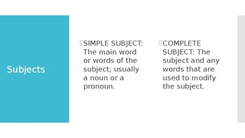 Subjects and Predicates PPT