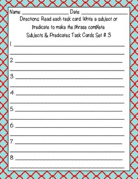 Subjects and Predicates Pack
