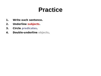 Subjects, Predicates and Objects PowerPoint and Quiz