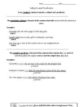 Subjects and Predicates Practice Pages