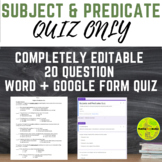 Subjects and Predicates Quiz