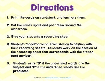 Subjects and Predicates Scoot and Task Cards