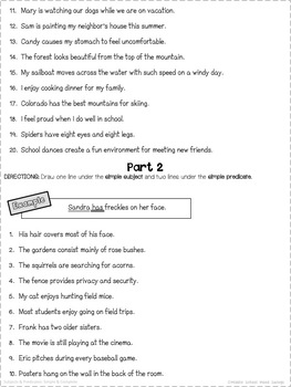 Subjects and Predicates - Sentence Structure Worksheets
