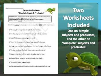 Subjects and Predicates (Simple & Complete) {PowerPoint and Worksheets}