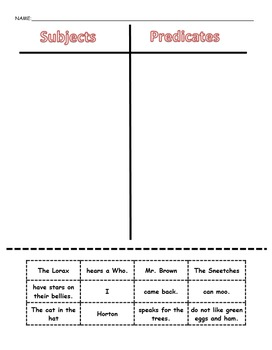 Subjects and Predicates Sort - Cut and Paste bundle