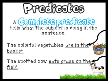 Subjects and Predicates Task Cards