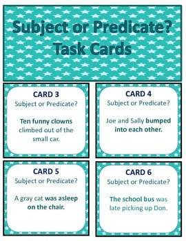 Subjects and Predicates Task Cards/Scoot