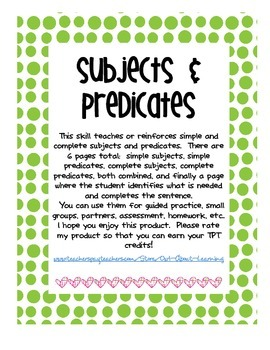 Subjects and Predicates Teach and Review