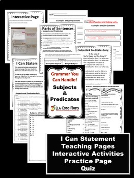 Subjects and Predicates ~ Teaching Handout,  Practice Activity and Handout, Quiz