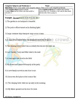 Subjects and Predicates Worksheets for Practice