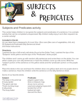 Subjects and Predicates activity