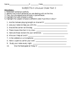 Subjects in Unusual Order Worksheet