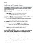 Subjects in Unusual Order Worksheet