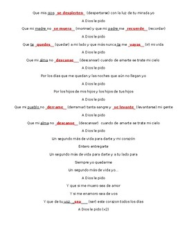 """Subjunctive Cloze Activity for song """"A Dios le pido"""" by Juanes"""