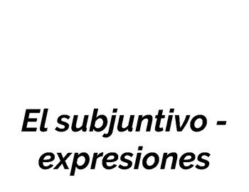 Subjunctive Expressions Word Wall