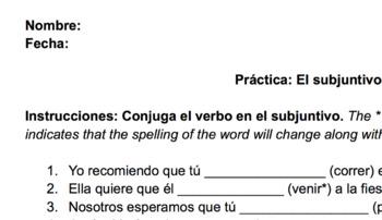 Subjunctive- Más Práctica