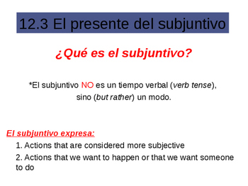 Subjunctive Notes