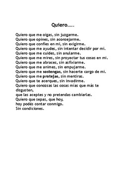 Subjunctive Poem Activity- Yo Quiero by Jorge Bucay- reading, poem, writing