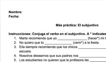 Subjunctive Practice