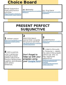 Subjunctive Practice Spanish - Choice Board