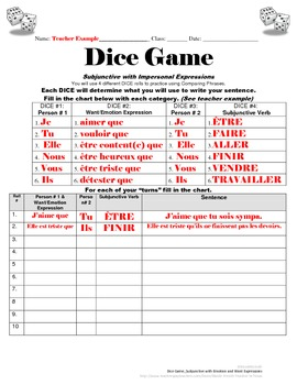 Subjunctive Practice with Want, Emotion Expressions: French Dice Game
