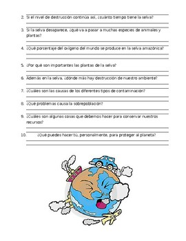 Subjunctive Reading - el planeta en peligro