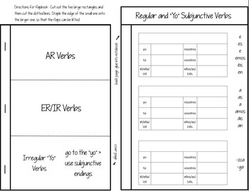 Subjunctive Spanish Interactive Notebook Flapbooks (Present)