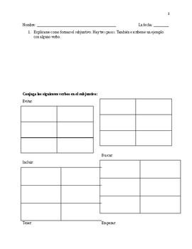 Subjunctive Tense Quiz Realidades 3
