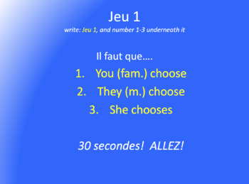 Subjunctive : Verb Olympics game