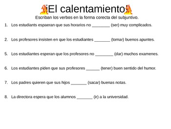 Subjunctive/ Vocab Notes for Expresate Chapter 3 Spanish 3