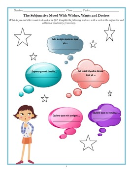 Subjunctive Worksheet Practicing Wishes and Wants