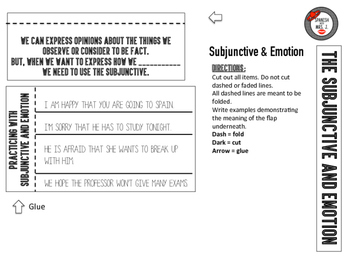 Subjunctive and Emotion: Spanish Interactive Notebook Page