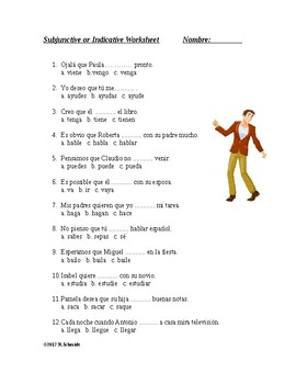 Subjunctive versus Indicative Spanish Worksheet - Subjuntivo vs indicativo