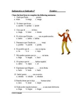 Subjunctive versus Indicative Spanish Worksheet - Subjuntivo vs indicativo
