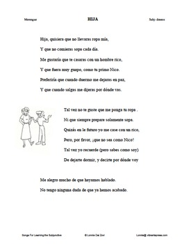 Songs for Learning the Subjunctive (wishes and commands) - Hija