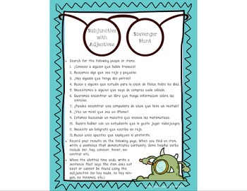 Subjunctive with Adjective Clauses Scavenger Hunt Game Activity - el subjuntivo