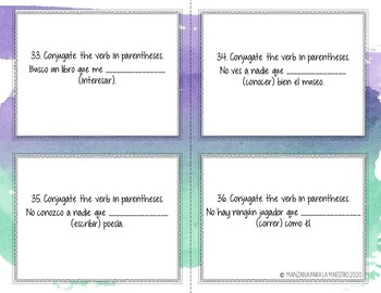 Subjunctive with Adjective Clauses, the Unknown and Nonexistent Task Cards