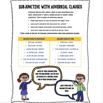 Spanish Subjunctive with Adverbial Clauses subjuntivo Notes worksheets mnemonic