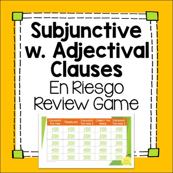 Subjunctive with Adjectival Phrases Jeopardy-inspired Editable Review Game