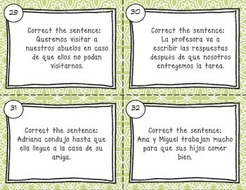 Subjunctive with Adverbial Phrases Spanish Task Cards