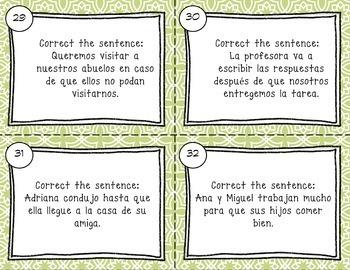 Spanish Subjunctive with Adverbial Phrases Task Cards el subjuntivo