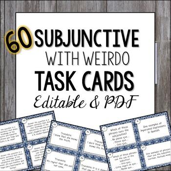 Spanish Subjunctive Task Cards with WEIRDO - el subjuntivo