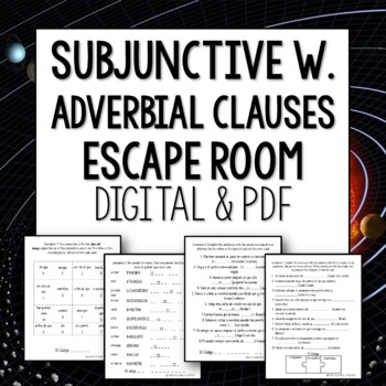 Subjunctive with adverbial clauses Break Out Escape Room Lesson Activity