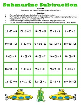 Submarine Subtraction - A 2-Player Game to Solve Subtraction Equations