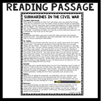 Submarines in the Civil War  Reading Comprehension Worksheet, H.L. Hunley, DBQ